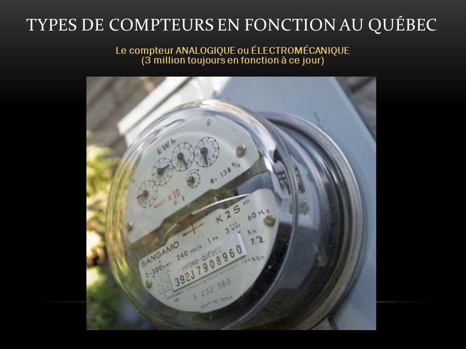 TYPES DE COMPTEURS EN FONCTION AU QUÉBEC Le compteur ANALOGIQUE ou ÉLECTROMÉCANIQUE (3 million toujours en fonction à ce jour)
