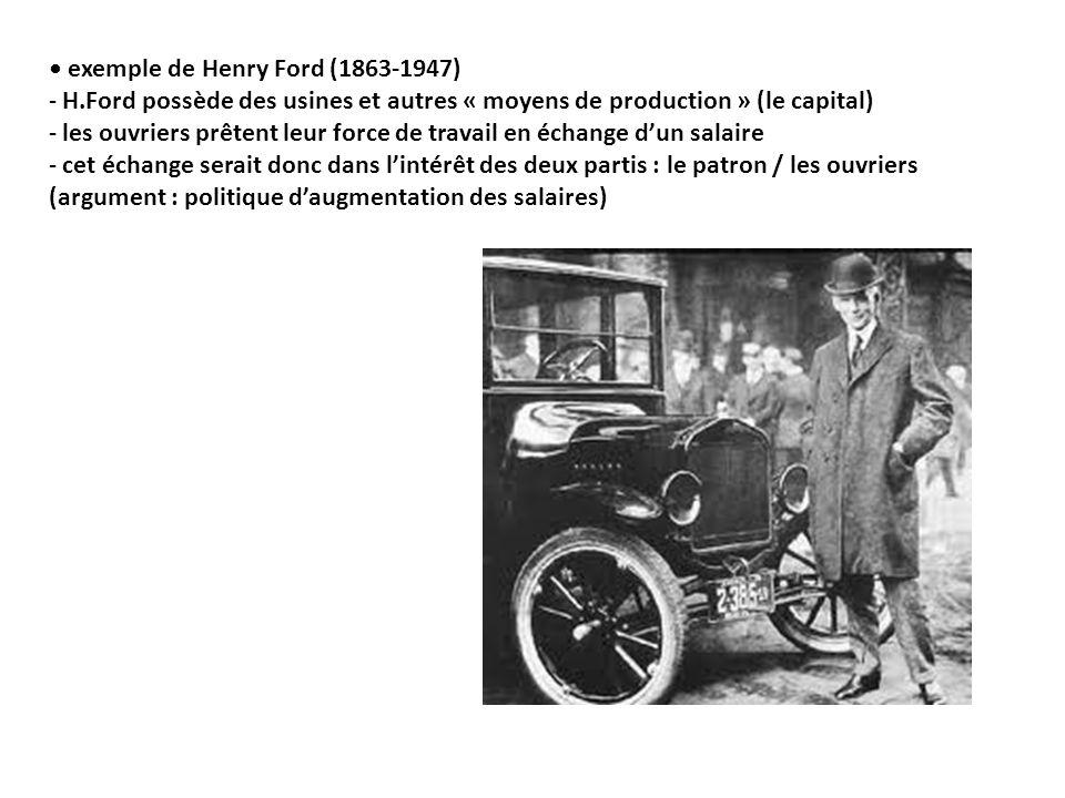 exemple de Henry Ford (1863-1947) - H.Ford possède des usines et autres « moyens de production » (le capital) - les ouvriers prêtent leur force de travail en échange dun salaire - cet échange serait donc dans lintérêt des deux partis : le patron / les ouvriers (argument : politique daugmentation des salaires)