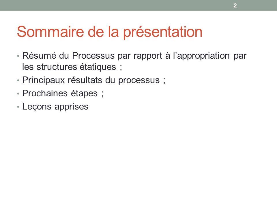 Sommaire de la présentation Résumé du Processus par rapport à lappropriation par les structures étatiques ; Principaux résultats du processus ; Prochaines étapes ; Leçons apprises 2