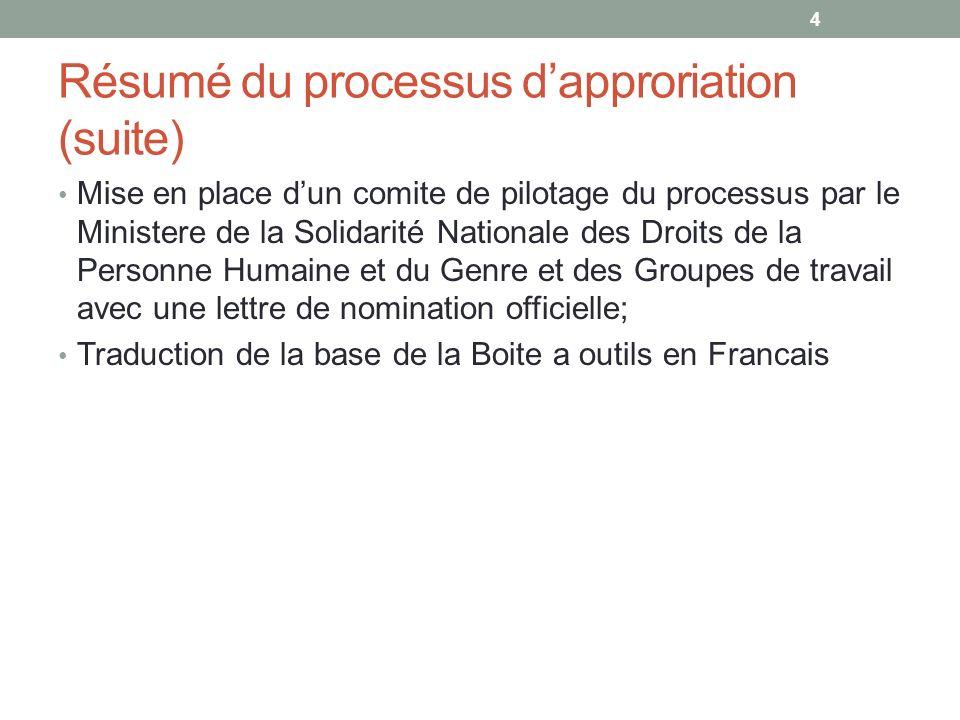 Résumé du processus dapproriation (suite) Mise en place dun comite de pilotage du processus par le Ministere de la Solidarité Nationale des Droits de