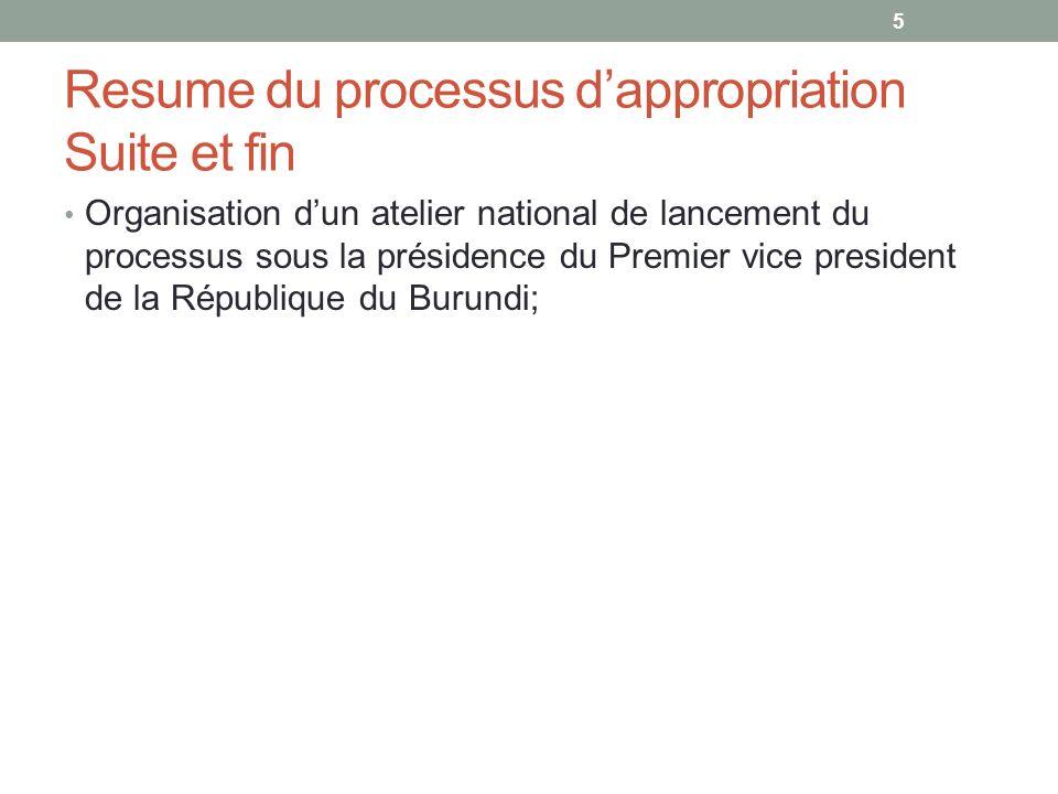 Resume du processus dappropriation Suite et fin Organisation dun atelier national de lancement du processus sous la présidence du Premier vice preside