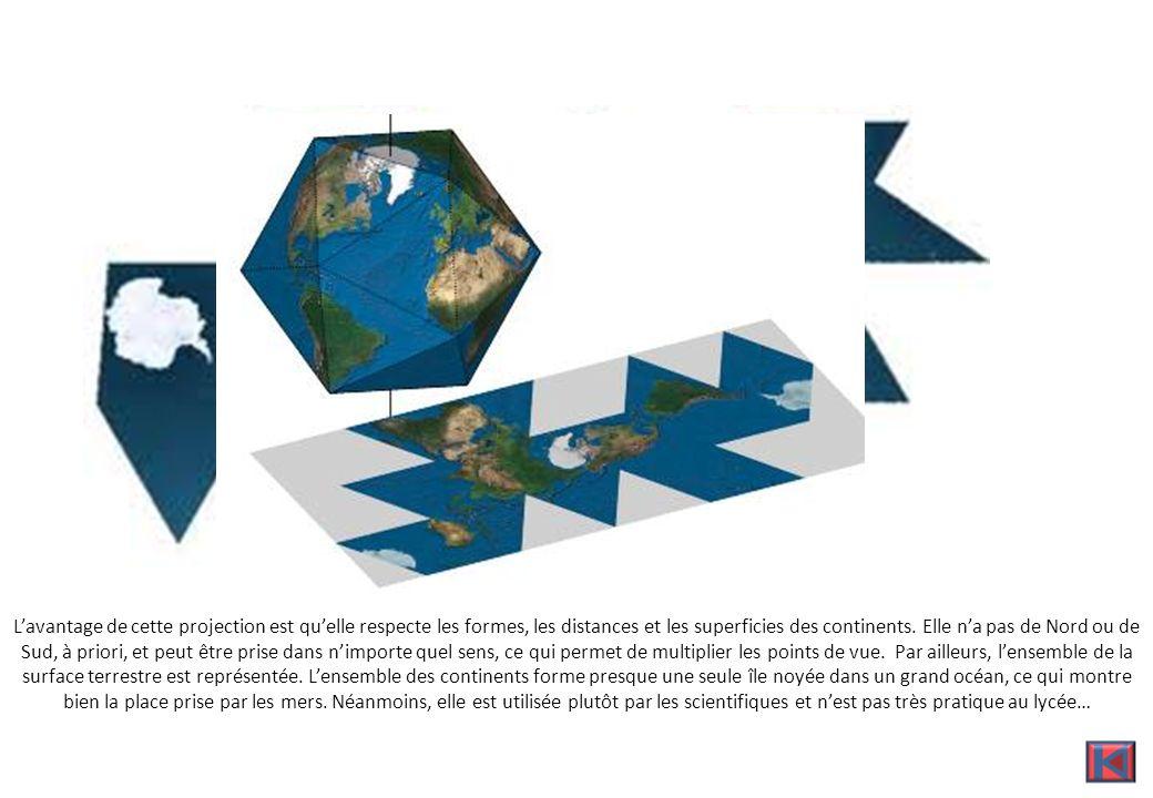 Pôle Sud Océan Pacifique Lavantage de cette projection est quelle respecte les formes, les distances et les superficies des continents.