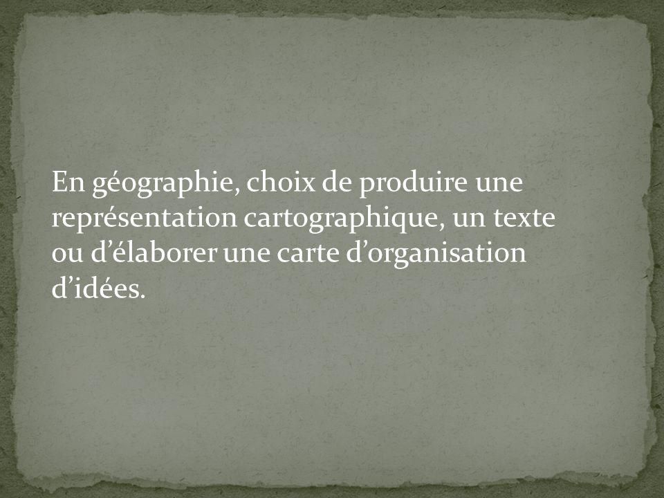 En géographie, choix de produire une représentation cartographique, un texte ou délaborer une carte dorganisation didées.