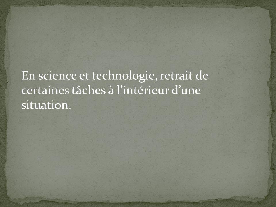 En science et technologie, retrait de certaines tâches à lintérieur dune situation.