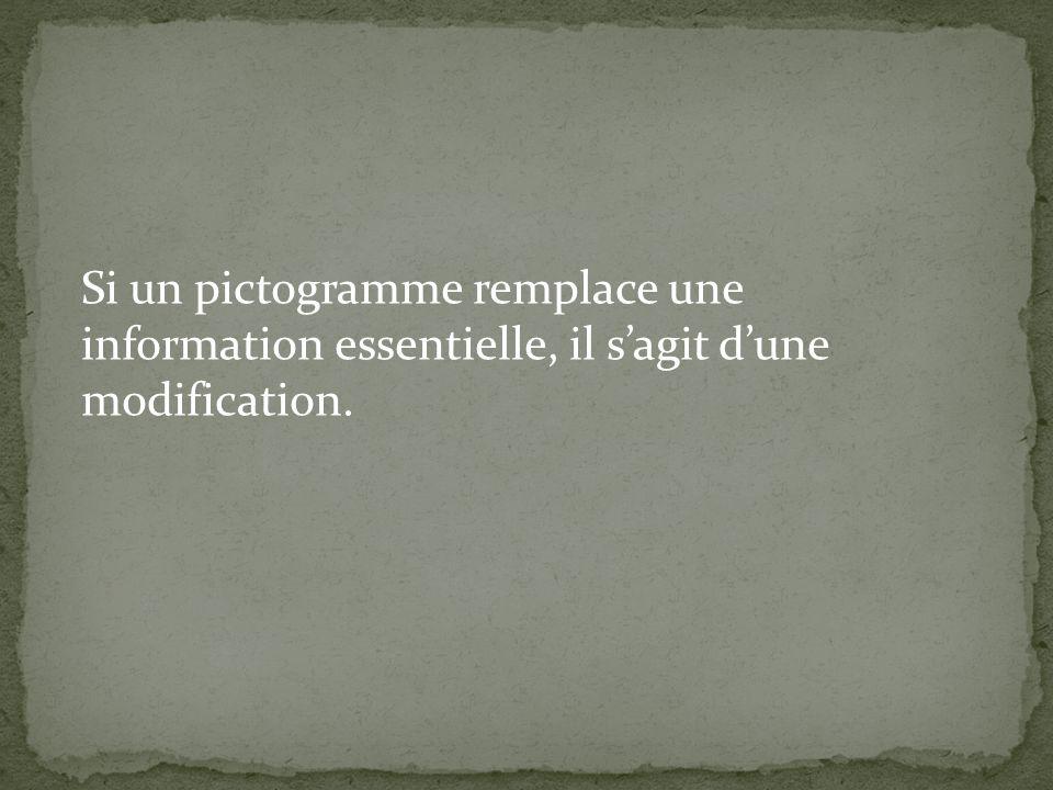 Si un pictogramme remplace une information essentielle, il sagit dune modification.