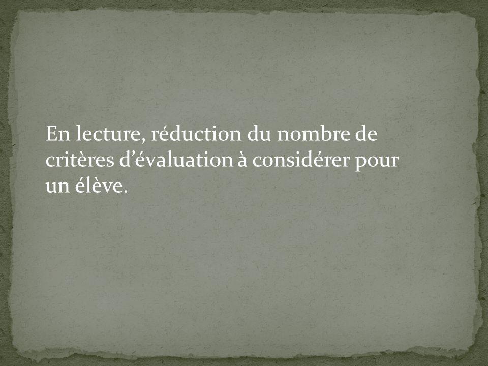 En lecture, réduction du nombre de critères dévaluation à considérer pour un élève.