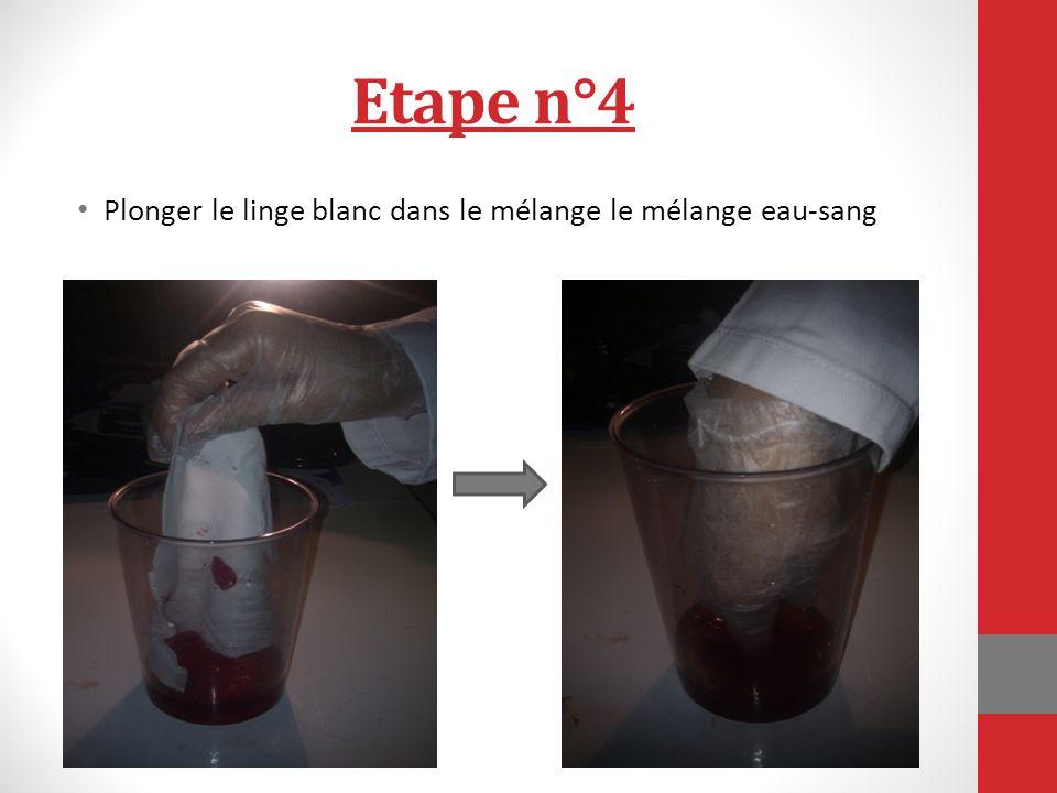 Etape n°4 Plonger le linge blanc dans le mélange le mélange eau-sang