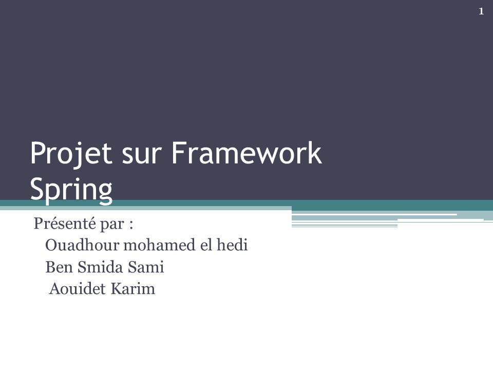 Projet sur Framework Spring Présenté par : Ouadhour mohamed el hedi Ben Smida Sami Aouidet Karim 1