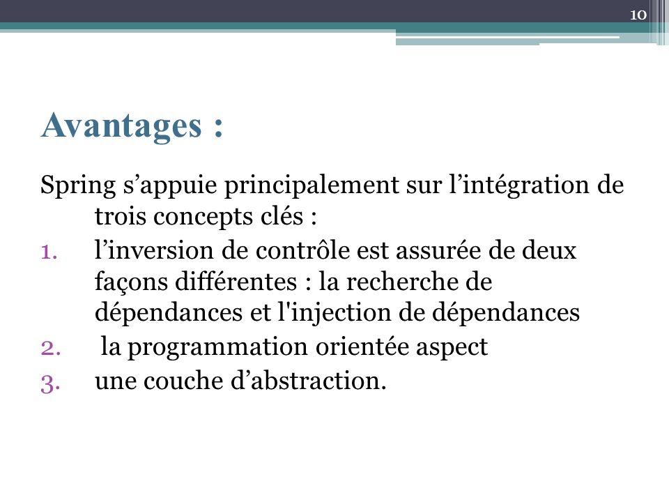 Avantages : Spring sappuie principalement sur lintégration de trois concepts clés : 1.linversion de contrôle est assurée de deux façons différentes : la recherche de dépendances et l injection de dépendances 2.