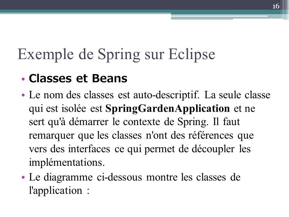 Exemple de Spring sur Eclipse Classes et Beans Le nom des classes est auto-descriptif. La seule classe qui est isolée est SpringGardenApplication et n