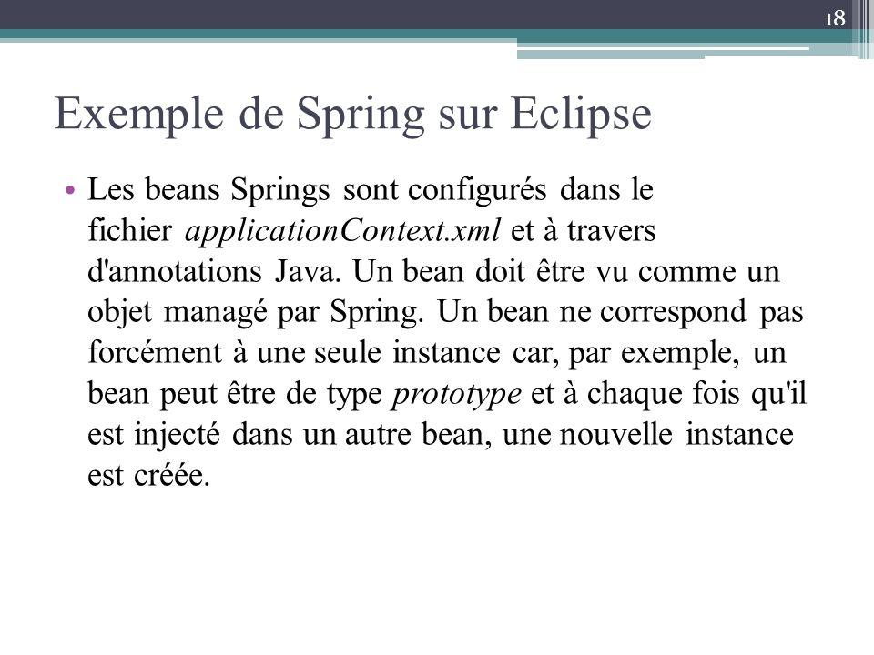 Exemple de Spring sur Eclipse Les beans Springs sont configurés dans le fichier applicationContext.xml et à travers d'annotations Java. Un bean doit ê