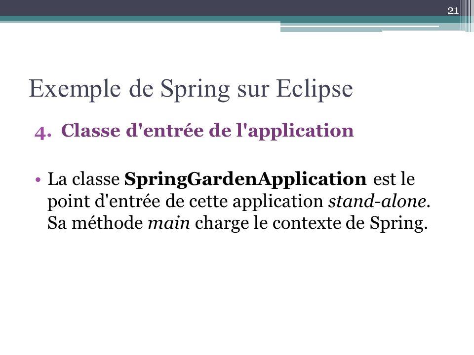 Exemple de Spring sur Eclipse 4.Classe d entrée de l application La classe SpringGardenApplication est le point d entrée de cette application stand-alone.