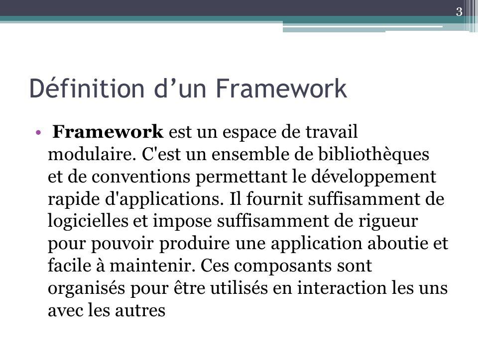 Définition dun Framework Framework est un espace de travail modulaire. C'est un ensemble de bibliothèques et de conventions permettant le développemen