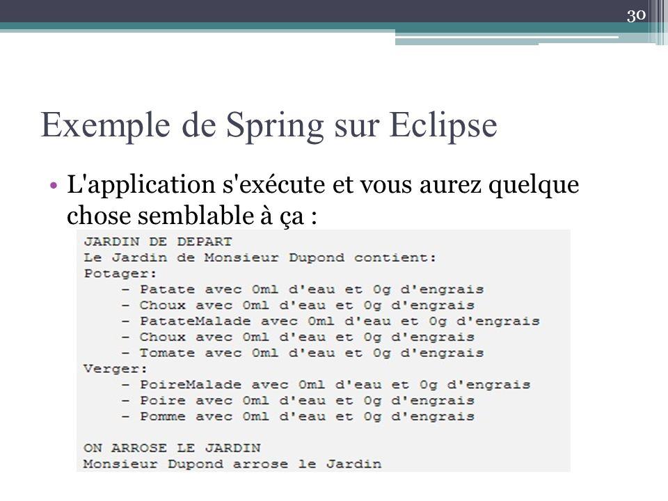 Exemple de Spring sur Eclipse L application s exécute et vous aurez quelque chose semblable à ça : 30