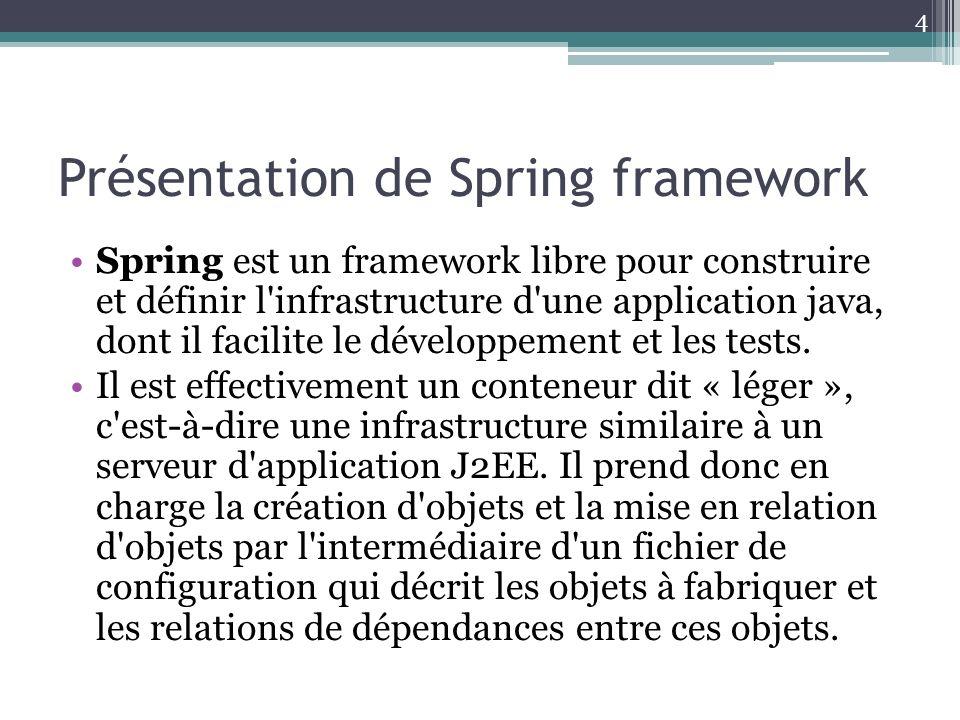Présentation de Spring framework Spring est un framework libre pour construire et définir l infrastructure d une application java, dont il facilite le développement et les tests.