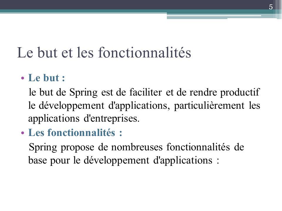 Le but et les fonctionnalités Le but : le but de Spring est de faciliter et de rendre productif le développement d'applications, particulièrement les