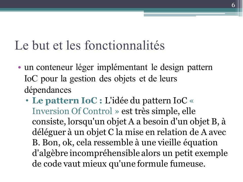 Le but et les fonctionnalités un conteneur léger implémentant le design pattern IoC pour la gestion des objets et de leurs dépendances Le pattern IoC : L idée du pattern IoC « Inversion Of Control » est très simple, elle consiste, lorsqu un objet A a besoin d un objet B, à déléguer à un objet C la mise en relation de A avec B.