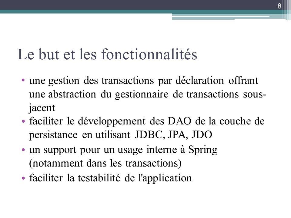 une gestion des transactions par déclaration offrant une abstraction du gestionnaire de transactions sous- jacent faciliter le développement des DAO de la couche de persistance en utilisant JDBC, JPA, JDO un support pour un usage interne à Spring (notamment dans les transactions) faciliter la testabilité de l application 8