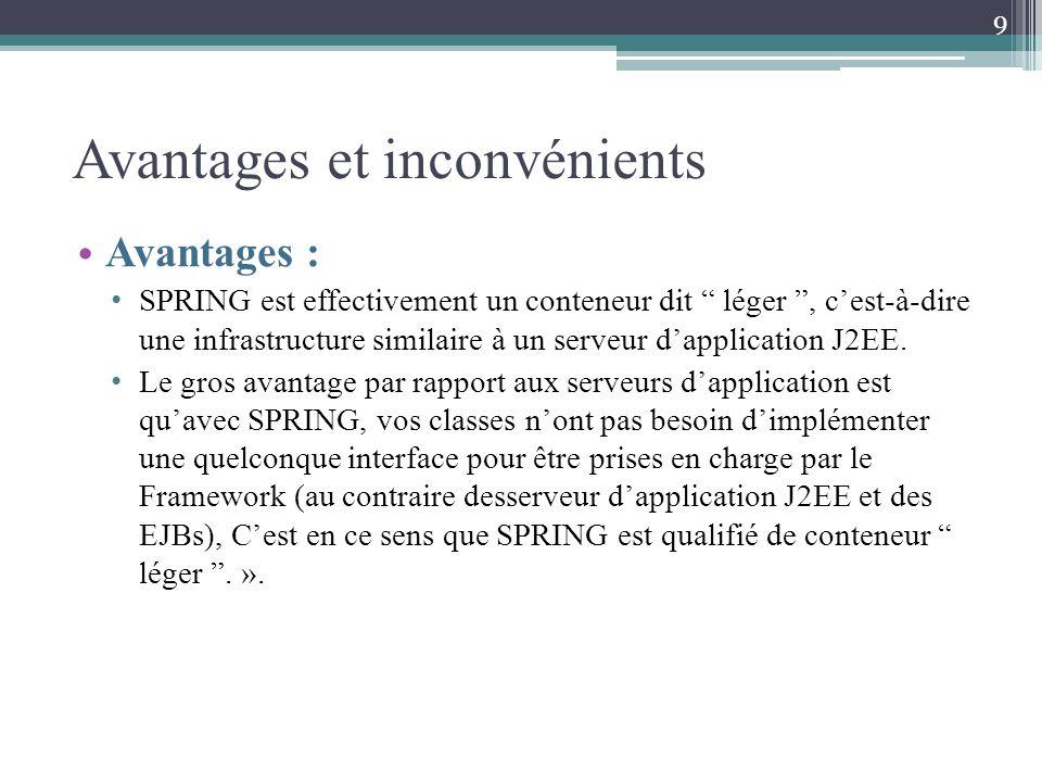 Avantages et inconvénients Avantages : SPRING est effectivement un conteneur dit léger, cest-à-dire une infrastructure similaire à un serveur dapplication J2EE.