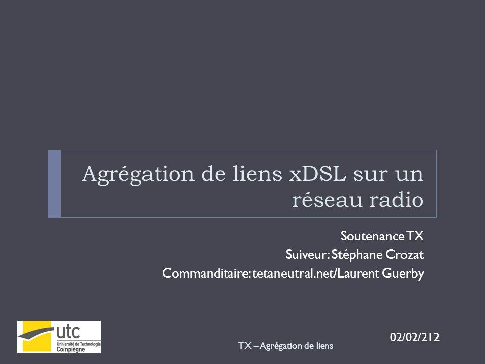 Agrégation de liens xDSL sur un réseau radio Soutenance TX Suiveur: Stéphane Crozat Commanditaire: tetaneutral.net/Laurent Guerby 02/02/212 TX – Agrég