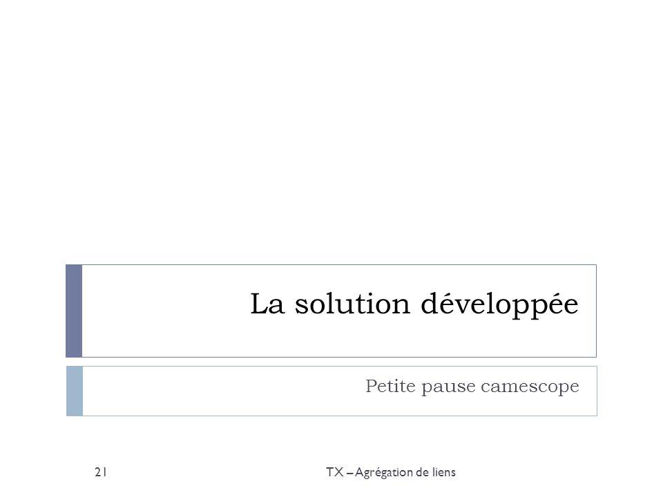 La solution développée Petite pause camescope TX – Agrégation de liens21