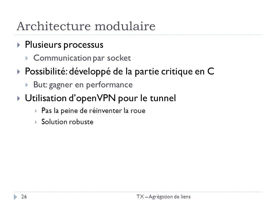 Architecture modulaire Plusieurs processus Communication par socket Possibilité: développé de la partie critique en C But: gagner en performance Utili