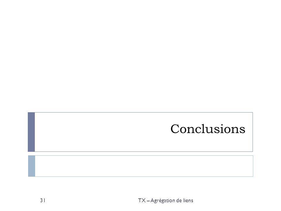 Conclusions TX – Agrégation de liens31