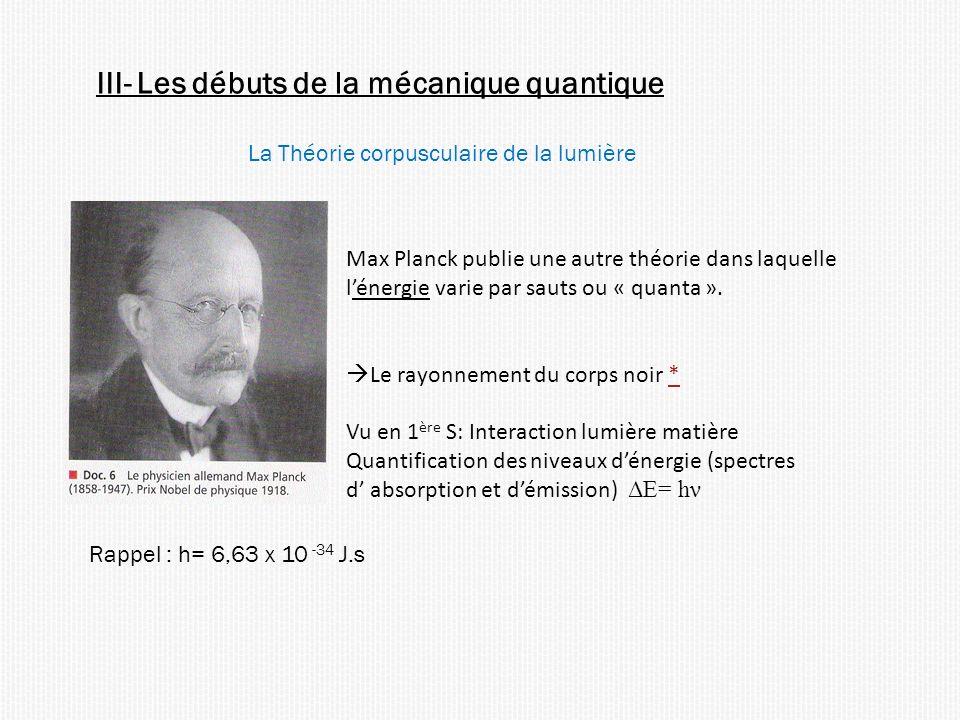 La Théorie corpusculaire de la lumière Max Planck publie une autre théorie dans laquelle lénergie varie par sauts ou « quanta ». Le rayonnement du cor