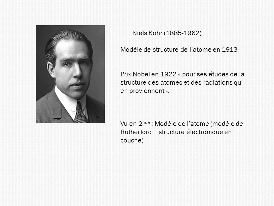 Niels Bohr (1885-1962) Modèle de structure de latome en 1913 Prix Nobel en 1922 « pour ses études de la structure des atomes et des radiations qui en proviennent ».