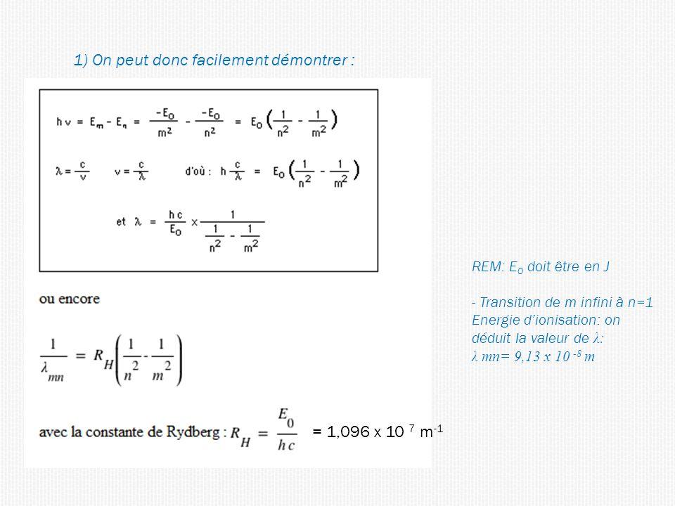 1) On peut donc facilement démontrer : = 1,096 x 10 7 m -1 REM: E 0 doit être en J - Transition de m infini à n=1 Energie dionisation: on déduit la valeur de λ: λ mn= 9,13 x 10 -8 m
