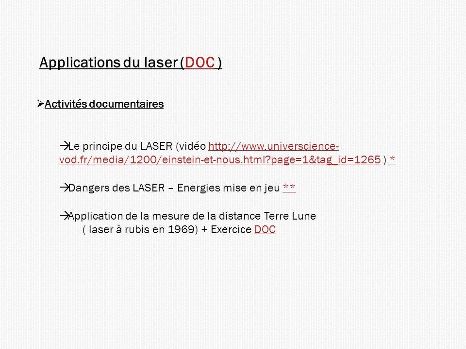 Applications du laser (DOC )DOC Activités documentaires Le principe du LASER (vidéo http://www.universcience- vod.fr/media/1200/einstein-et-nous.html?page=1&tag_id=1265 ) *http://www.universcience- vod.fr/media/1200/einstein-et-nous.html?page=1&tag_id=1265* Dangers des LASER – Energies mise en jeu **** Application de la mesure de la distance Terre Lune ( laser à rubis en 1969) + Exercice DOCDOC