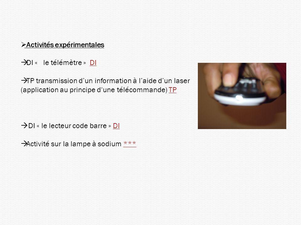 Activités expérimentales DI « le télémètre » DIDI TP transmission dun information à laide dun laser (application au principe dune télécommande) TPTP DI « le lecteur code barre » DIDI Activité sur la lampe à sodium ******