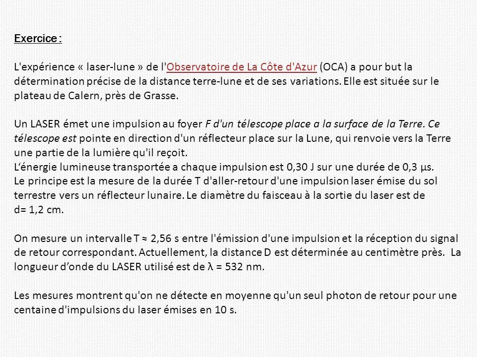 Exercice : L expérience « laser-lune » de l Observatoire de La Côte d Azur (OCA) a pour but laObservatoire de La Côte d Azur détermination précise de la distance terre-lune et de ses variations.