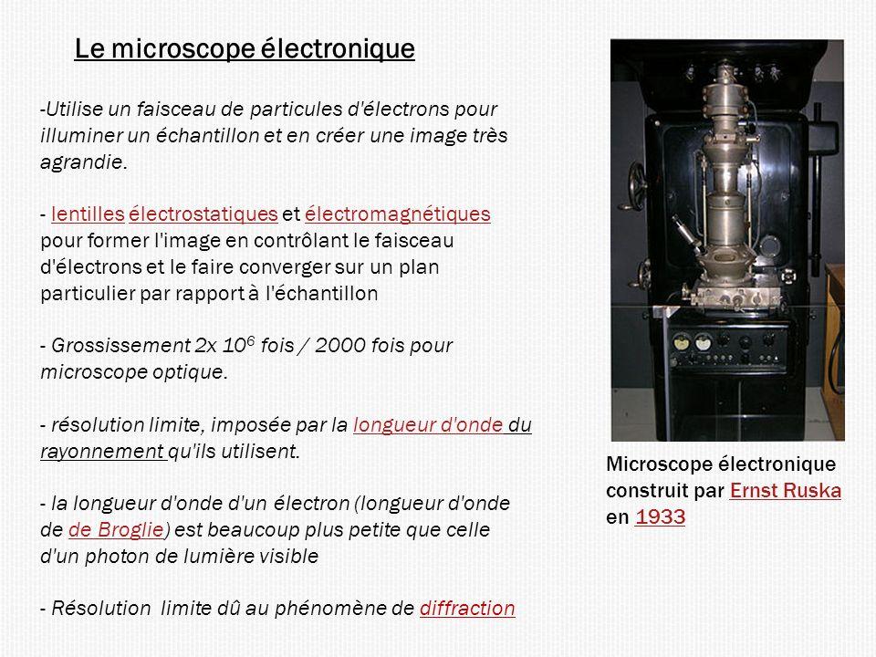 Le microscope électronique Microscope électronique construit par Ernst RuskaErnst Ruska en 19331933 -Utilise un faisceau de particules d électrons pour illuminer un échantillon et en créer une image très agrandie.