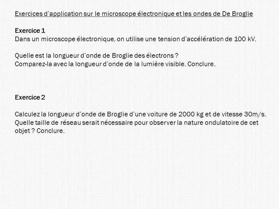 Exercices dapplication sur le microscope électronique et les ondes de De Broglie Exercice 1 Dans un microscope électronique, on utilise une tension da