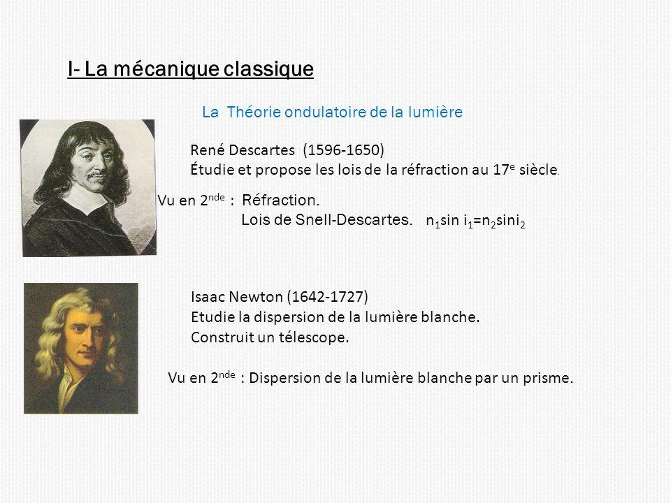 I- La mécanique classique La Théorie ondulatoire de la lumière René Descartes (1596-1650) Étudie et propose les lois de la réfraction au 17 e siècle.
