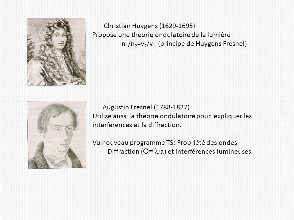 Christian Huygens (1629-1695) Propose une théorie ondulatoire de la lumière n 1 /n 2 =v 2 /v 1 (principe de Huygens Fresnel) Augustin Fresnel (1788-1827) Utilise aussi la théorie ondulatoire pour expliquer les interférences et la diffraction.