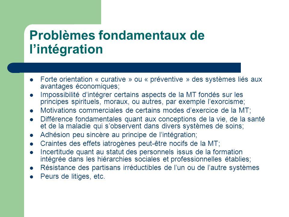 Problèmes fondamentaux de lintégration Forte orientation « curative » ou « préventive » des systèmes liés aux avantages économiques; Impossibilité din