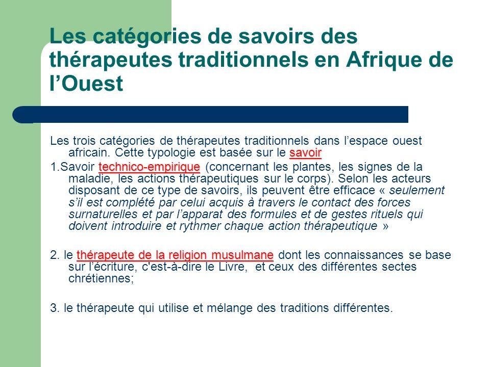 Les catégories de savoirs des thérapeutes traditionnels en Afrique de lOuest savoir Les trois catégories de thérapeutes traditionnels dans lespace oue