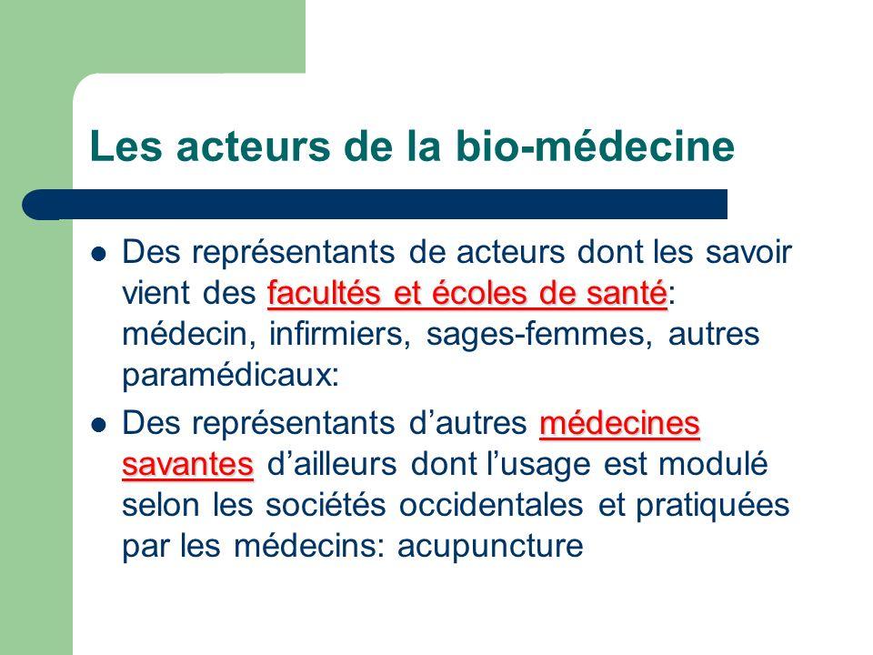 Les acteurs de la bio-médecine facultés et écoles de santé Des représentants de acteurs dont les savoir vient des facultés et écoles de santé: médecin