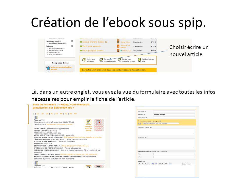 Création de lebook sous spip. Choisir écrire un nouvel article Là, dans un autre onglet, vous avez la vue du formulaire avec toutes les infos nécessai