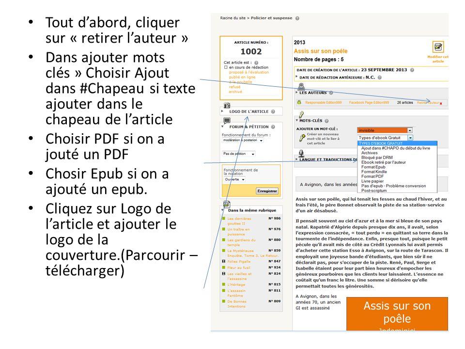 Tout dabord, cliquer sur « retirer lauteur » Dans ajouter mots clés » Choisir Ajout dans #Chapeau si texte ajouter dans le chapeau de larticle Choisir PDF si on a jouté un PDF Chosir Epub si on a ajouté un epub.