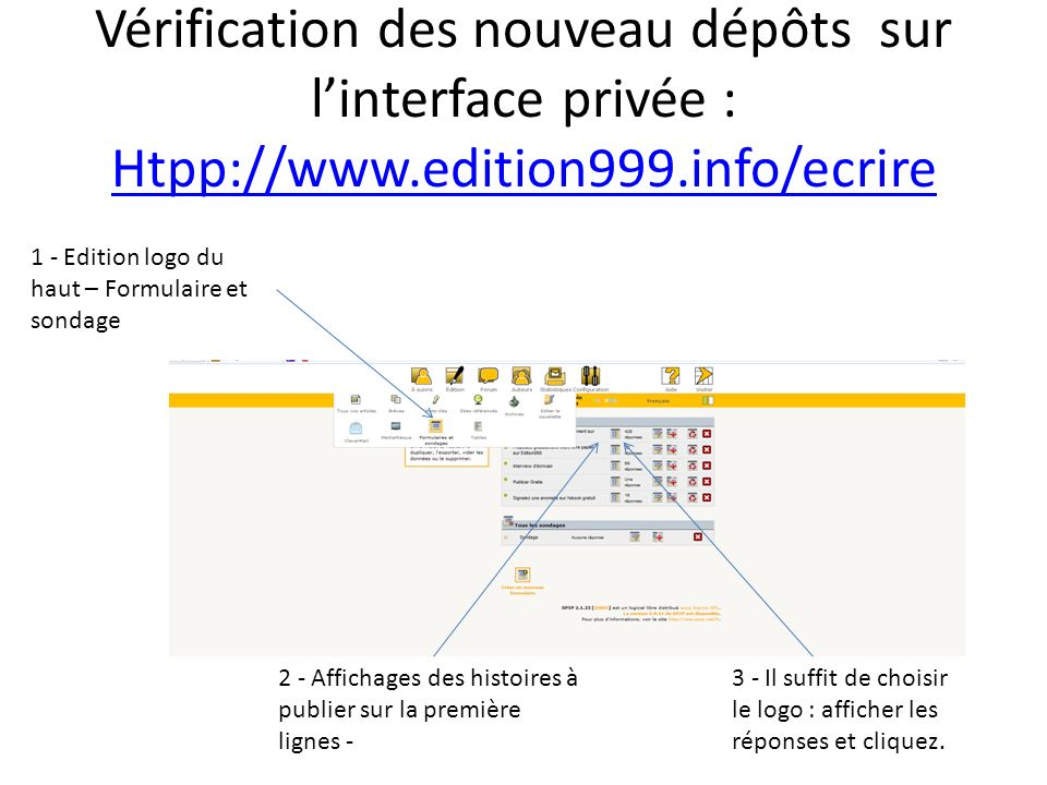 Vérification des nouveau dépôts sur linterface privée : Htpp://www.edition999.info/ecrire Htpp://www.edition999.info/ecrire 1 - Edition logo du haut –