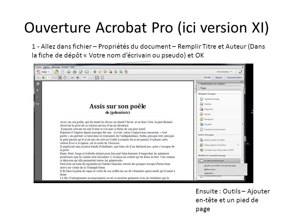 Ouverture Acrobat Pro (ici version XI) 1 - Allez dans fichier – Propriétés du document – Remplir Titre et Auteur (Dans la fiche de dépôt « Votre nom d
