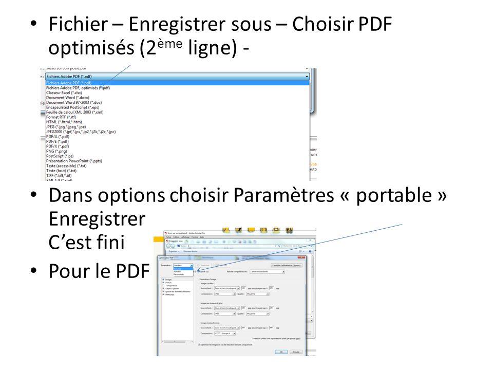 Fichier – Enregistrer sous – Choisir PDF optimisés (2 ème ligne) - Dans options choisir Paramètres « portable » Enregistrer Cest fini Pour le PDF