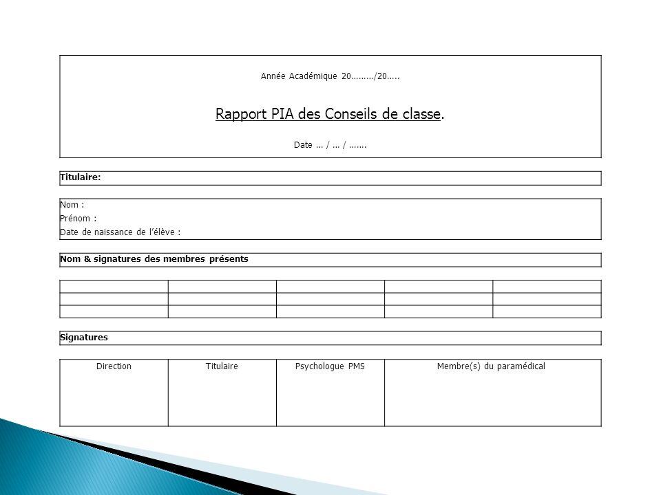 Année Académique 20………/20….. Rapport PIA des Conseils de classe.