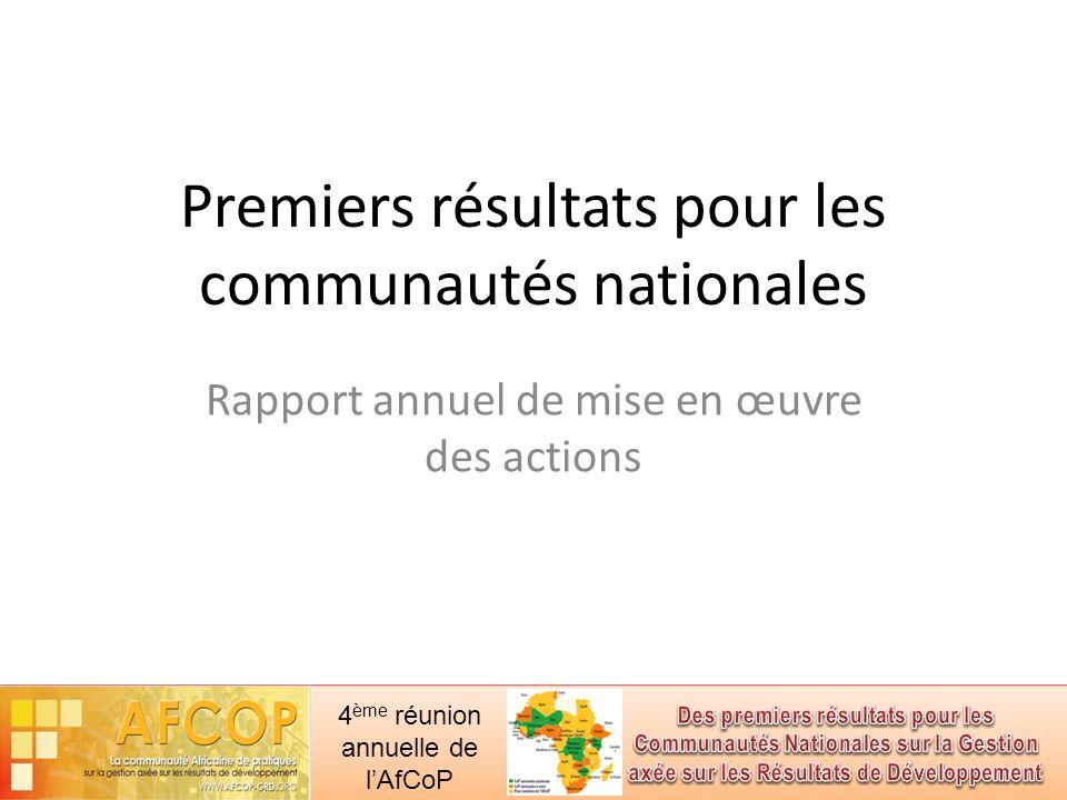4 ème réunion annuelle de lAfCoP Premiers résultats pour les communautés nationales Rapport annuel de mise en œuvre des actions
