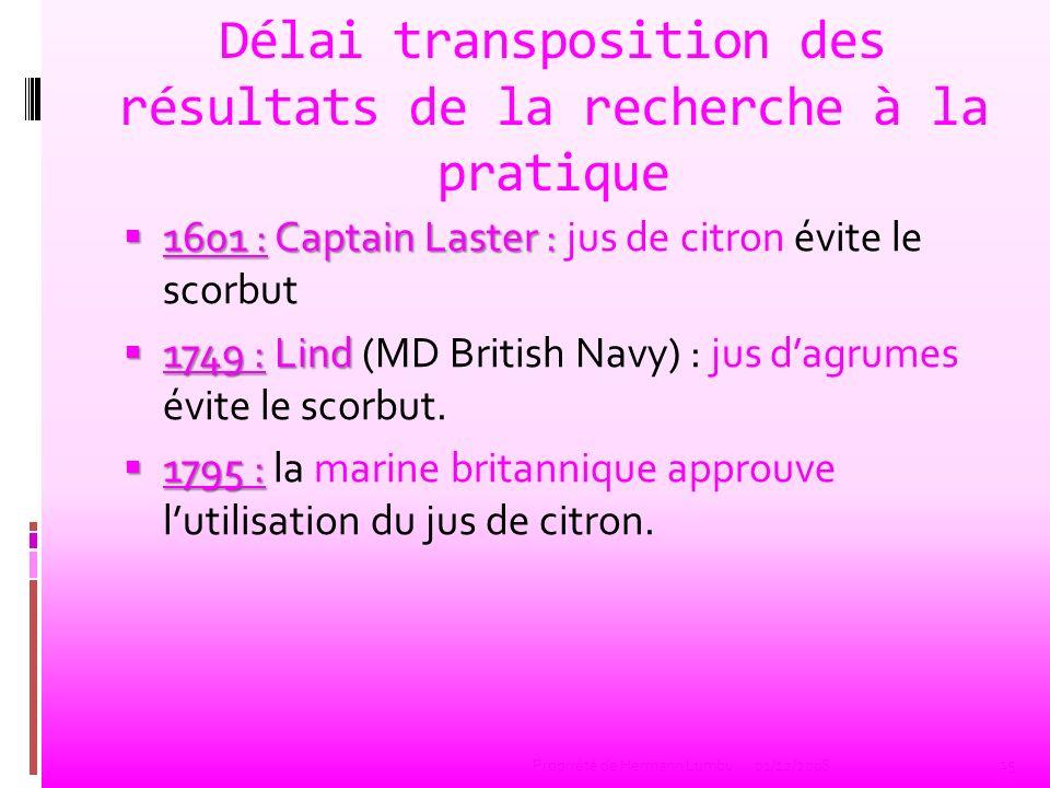 Délai transposition des résultats de la recherche à la pratique 1601 : Captain Laster : 1601 : Captain Laster : jus de citron évite le scorbut 1749 :L