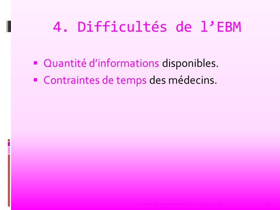 4. Difficultés de lEBM Quantité dinformations disponibles. Contraintes de temps des médecins. 19 Propriété de Hermann Lumbu01/12/2008