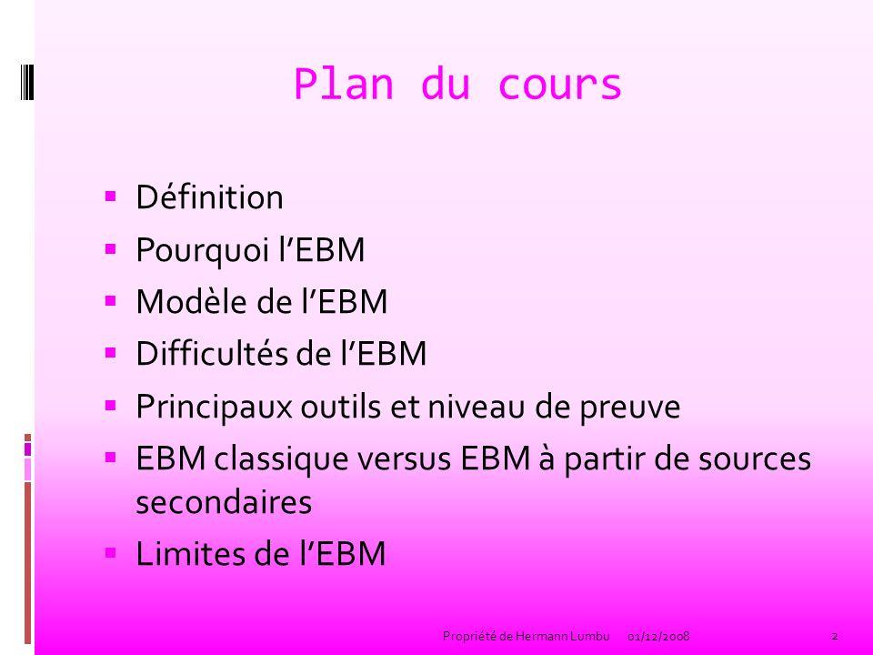 Plan du cours Définition Pourquoi lEBM Modèle de lEBM Difficultés de lEBM Principaux outils et niveau de preuve EBM classique versus EBM à partir de s